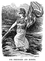 For Friendship and Honour. (Britannia strides with her flag and sword ready after declaring war on  Germany while the looming thunder of war approaches)