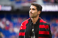 HARRISON, NJ - Sunday April 26, 2015: The New York Red Bulls all-time leading goal scorer Juan Pablo Angel receives a special honor prior to kickoff.  The New York Red Bulls tie the Los Angeles Galaxy 1-1 at home at Red Bull Arena in regular season MLS play.