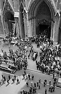 June 8th 1968, Manhattan, New York City, New York.<br /> The coffin of Robert F. Kennedy is carried out of St. Patrick's Cathedral in New York City, to be transported on a train to  Washington DC to be buried in Arlington Cemetery. Senator Robert Kennedy was assassinated by Sirhan Sirhan while campaigning for the presidency of the United States.