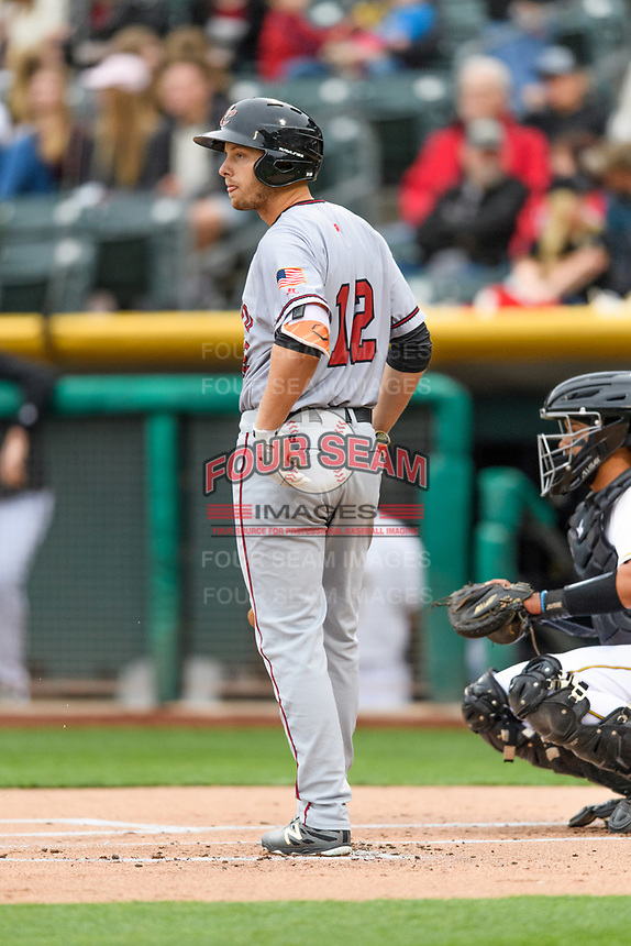 Austin Slater (12) of the Sacramento River Cats at bat against the Salt Lake Bees in Pacific Coast League action at Smith's Ballpark on April 11, 2017 in Salt Lake City, Utah.  The River Cats defeated the Bees 8-7. (Stephen Smith/Four Seam Images)