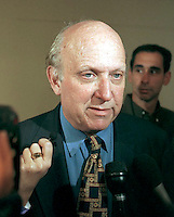 "Floyd Abrams, attorney for the Brooklyn Museum gives an interview to the press on September 30, 1999 about the controversial ""Sensation"" show opening at the Brooklyn Museum. The show has incurred the wrath of NYC Mayor Rudy Giuliani because of the sexual and religious nature of the artwork. (© Richard B. Levine)"