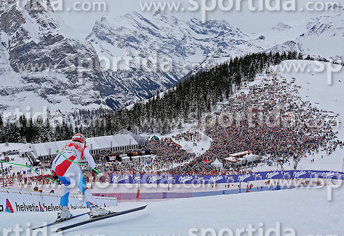 18.01.2014, Lauberhorn, Wengen, SUI, FIS Weltcup Ski Alpin, Wengen, Abfahrt, Herren, im Bild Patrick Kueng (SUI) // in action during the downhill of the Wengen FIS Ski Alpine World Cup at the Lauberhorn in Wengen, Switzerland on 2014/01/18. EXPA Pictures &copy; 2014, PhotoCredit: EXPA/ Freshfocus/ Christian Pfander<br /> <br /> *****ATTENTION - for AUT, SLO, CRO, SRB, BIH, MAZ only*****