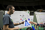 Mark Slayton receives a first place ribbon for his work at the student expo on April 6, 2017.