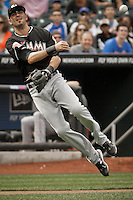 Miami Marlins Gil Velazquez throws the ball to first base during their game against New York Mets at Citi Field Stadium in New York. Photo by Eduardo Munoz Alvarez / VIEW.