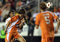 Tom Heinemann #31 Of the Carolina Railhawks gets a boot in the face from Alexis Rivera #6 of the Puerto Rico Islanders during the second leg of the USSF-D2 championship match at WakeMed Soccer Park, in Cary, North Carolina on October 30 2010.
