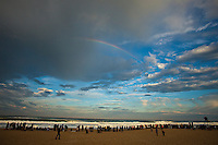 """Rainbow over the contest site.  CULS NUS BEACH, Hossegor/France (Saturday, October 2, 2010) -Mick Fanning (AUS), 29, reigning ASP World Champion, claimed his second, consecutive Quiksilver Pro France today, defeating fellow finalist, former nine-time ASP World Champion and current ASP World No. 1, Kelly Slater (USA), 38, in pumping six-to-eight foot (2.5 metre) barrels at Les Culs Nus Beach.. .Event No. 7 of 10 on the 2010 ASP World Tour, the Quiksilver Pro France culminated in dramatic fashion today with a bevy of high-scoring rides amidst the treacherous conditions, and it was the Australian besting the American in a hard-fought Final.. .""""That was difficult,"""" Fanning said. """"Kelly (Slater) and I were talking out there about how we were trying to get in the spot. There was just a lot of water moving and it was super challenging. I got absolutely hammered by that set - copped the whole thing on the head and it killed me. You were either in the spot or you weren't, and I was fortunate enough to be there for a couple."""". .Notching his second, consecutive Quiksilver Pro France win today (and 13th ASP World Title event win), Fanning notes that the spectacular conditions gracing this year's event make the victory more enjoyable..Today's win moves Fanning from 5th to 3rd on the ASP World Title Race rankings, well within striking distance of the frontrunner position moving into the final three events of the season.Photo: joliphotos.com"""