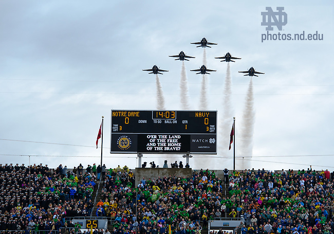 Nov. 2, 2013; The Blue Angels fly over Notre Dame Stadium before the Navy game, 2013.<br /> <br /> Photo by Matt Cashore