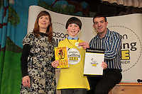 NO FEE PICTURES.8/3/12 Winner Edward Collins, St Mary's NS, Donnybrook, with Sandra Cote, Irish International and Eoin Quinn, Easonstaking part in the Dublin County final, part of the overall Eason 2012 Spelling Bee, held at St Olaf's NS, Dundrum. .For further details visit www.easons.com/spellingbee and stay tuned to RTE 2fm. Picture:Arthur Carron/Collins