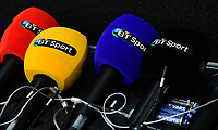 A close up of BT Sport microphones<br /> <br /> Photographer Chris Vaughan/CameraSport<br /> <br /> Vanarama National League - Lincoln City v Macclesfield Town - Saturday 22nd April 2017 - Sincil Bank - Lincoln<br /> <br /> World Copyright &copy; 2017 CameraSport. All rights reserved. 43 Linden Ave. Countesthorpe. Leicester. England. LE8 5PG - Tel: +44 (0) 116 277 4147 - admin@camerasport.com - www.camerasport.com