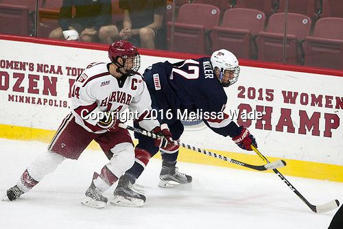 Alexander Kerfoot (Harvard - 14), Tommy Miller (NTDP - 12) - The Harvard University Crimson defeated the US National Team Development Program's Under-18 team 5-2 on Saturday, October 8, 2016, at the Bright-Landry Hockey Center in Boston, Massachusetts.