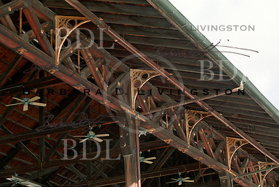 Saratoga Race Course grandstand architecture...wooden trusses.