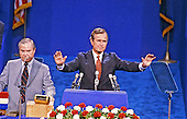 George H.W. Bush, former United States Ambassador to the United Nations, accepts the nomination of the Republican Party to be its candidate for Vice President of the United States at the Joe Lewis Arena in Detroit, Michigan on July 17, 1980.<br /> Credit: Arnie Sachs / CNP