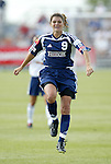 19 June 2004: Mia Hamm celebrates after her goal in the 34th minute had given the Freedom a 2-0 lead. The Washington Freedom tied the Boston Breakers 3-3 at the National Sports Center in Blaine, MN in Womens United Soccer Association soccer game featuring guest players from other teams.