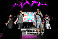 WEST PALM BEACH, FL - JULY 16: Erik-Michael Estrada, Trevor Penick, Jacob Underwood and Dan Miller of O-Town perform at The Perfect Vodka Amphitheater on July 16, 2016 in West Palm Beach Florida. Credit MPI04 / MediaPunch