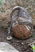 Filz-Stein-Trolle, Steine werden mit gefilzter Wolle, Filz geschmückt, Mütze aus Filzwolle, Steinmännchen als Gartenschmuck im Beet, Steingarten, Trolle mit Filzmütze
