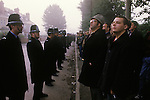 Miners Strike 1984. Miners on strike wait for working Miners to enter the Colliery Yard. Gasgoine Pit Yorkshire.