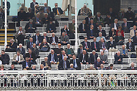 MCC members look on from the pavilion during Middlesex CCC vs Essex CCC, Specsavers County Championship Division 1 Cricket at Lord's Cricket Ground on 21st April 2017
