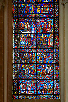 Medieval stained glass Window of the Gothic Cathedral of Chartres, France - dedicated to the life of St Margret and St Catherine.  A UNESCO World Heritage Site..
