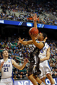 B.J. Bailey attempts a layup in the first half. Lehigh defeated Duke 75-70 during the 2nd round of the 2012 NCAA Basketball Championship at the Greensboro Coliseum in Greensboro, NC. Photo by Al Drago.