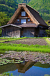 Gassho-zukuri houses were built of wooden beams combined to form a steep thatched roof that resembles two hands praying together.<br />