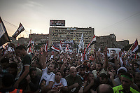 In this Friday, Aug. 09, 2013 photo, supporters of the ousted president Mohammed Morsi demonstrate in the streets nearby Al-Raba'a Alawya mosque in the Nasr district of Cairo. (Photo/Narciso Contreras).