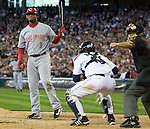 Cincinnati Reds Ken Griffey Jr. reacts after being struck out by Seattle Mariners' Eric O'Flaherty  in the seventh inning at Safeco Field in Seattle on June 24, 2007. Jim Bryant Photo. ©2010. ALL RIGHTS RESERVED.