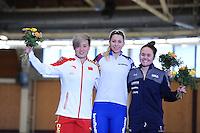 SPEEDSKATING: BERLIN: Sportforum Berlin, 27-01-2017, ISU World Cup, Podium 1000m Ladies Division B, Nan Sun (CHN), Nadezhda Aseeva (RUS), Jerica Tandiman (USA), ©photo Martin de Jong