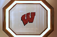 Custom University of Wisconson logo shown is Obsidian, Absolute White and Garnet jewel glass.<br /> -photo coutesy of Walker Zanger,  Karen Claffey-Koller, Interior Design. John Dyehouse, Architect. Chris Carlson, Contractor.