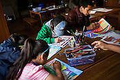 Newly arrived Tibetan refugees attend an art class at the Tibetan Reception Centre in Dharamsala, Himachal Pradesh, India. Photo: Sanjit Das/Panos