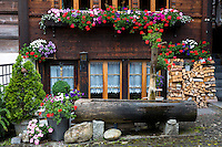 Water fountain trough and Swiss timber house in 18th Century Brunngasse at Brienz in Bernese Oberland, Switzerland