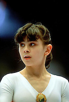 Laura Cutina of Romania prepares to perform on balance beam at 1985 European Championships in women's artistic gymnastics at Helsinki, Finland in late April, 1985.  Photo by Tom Theobald.