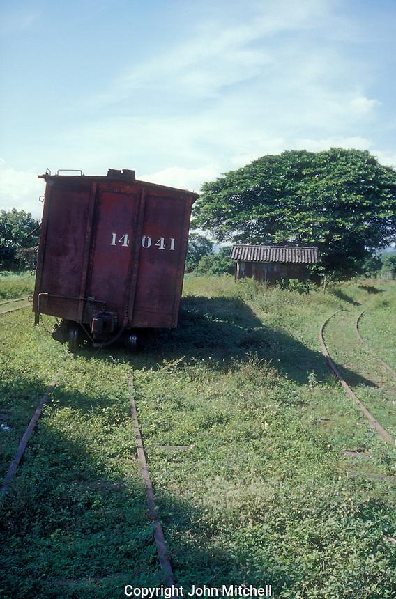 Old boxcar at Sitio del Nino train station, El Salvador, Central America