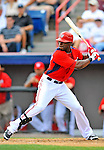 7 March 2012: Washington Nationals outfielder Roger Bernadina in action against the St. Louis Cardinals at Space Coast Stadium in Viera, Florida. The teams battled to a 3-3 tie in Grapefruit League Spring Training action. Mandatory Credit: Ed Wolfstein Photo