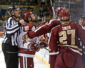 Drew Leblanc, Kyle Criscuolo (Harvard - 11), [bc - The Boston College Eagles defeated the Harvard University Crimson 4-1 in the opening round of the 2013 Beanpot tournament on Monday, February 4, 2013, at TD Garden in Boston, Massachusetts.