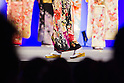 February 18, 2012, Tokyo, Japan - A contestant dressed in a kimono on stage is seen walking past a panel of judges during the 2012 Kimono Queen Contest. Approximately 500 women dressed in beautifully designed kimonos participate in this annual event for a chance to win special prizes and given the opportunity to be recognized as a kimono model in various media outlets. (Photo by Christopher Jue/AFLO)