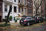 Trees down on West 87th St in New York during the brunt of Hurricane Sandy. ..Photo by Robert Caplin...