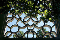 Concrete  lattice window in Dr. Sun Yat-Sen Park, Chinatown, Vancouver, British Columbia, Canada