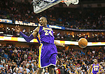 Mar 6, 2013; New Orleans, LA, USA; Los Angeles Lakers guard Kobe Bryant (24) reacts after dunking the ball against the New Orleans Hornets during the end of the fourth quarter at the New Orleans Arena. Los Angeles defeated New Orleans 108-102. Mandatory Credit: Crystal LoGiudice-USA TODAY Sports