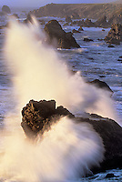 730850079v surf breaking over sea stacks along highway one on the pacific ocean at sonoma state beach california