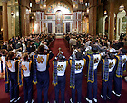 Nov.12, 2011; Members of the Notre Dame Marching band play the Alma Mater at the end of Mass at St. Matthew's Cathedral in Washington D.C. before the game against Maryland...Photo by Matt Cashore/University of Notre Dame