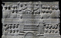 Detail of base, Obelisk of Theodosius, Hippodrome of Constantinople, Istanbul, Turkey. This side, on the South face, depicts Theodosius and his court. The Obelisk of Theodosius was originally erected at Karnak by Tutmoses III (1479-25 BC) and was transported to Alexandria by Constantius II in 357, and then by Theodosius to Constantinople in 390. Picture by Manuel Cohen.