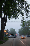 Foggy street scene in Saugatuck, Michigan, MI, USA