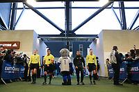San Jose, CA - Saturday April 08, 2017: San Jose Earthquakes mascot Q, Referees, Ricardo Salazar  during a Major League Soccer (MLS) match between the San Jose Earthquakes and the Seattle Sounders FC at Avaya Stadium.