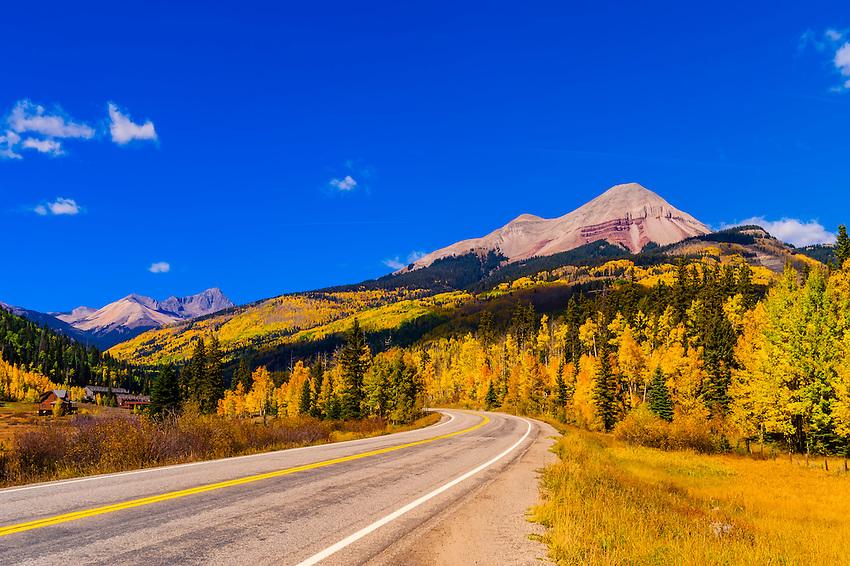 Fall color, Colorado Highway 550 (Engineer Mountain in background),  San Juan Mountains, north of Durango, Colorado USA.