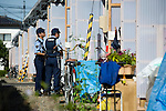 Police perform door-to-door checks of a temporary housing estate established for those who lost their homes during the March 11 quake and tsunami in Natori City, Miyagi Prefecture Prefecture, Japan on 08 Sept. 2011. Photograph: Robert Gilhooly