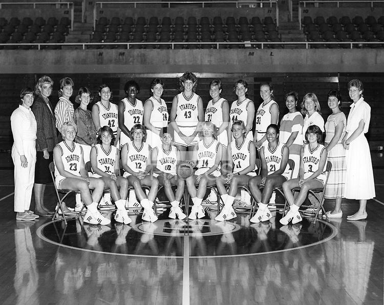 1985: Women's Basketball Team.<br /><br />Sitting (left to right): Jeanne Osmera, Leslie Lorimer, Erica Mueser, Virginia Sourlis, Judy Griffith, Sue Sebolt, Andrea Ransom, Charlie Turner.  Standing (left to right): Head Coach Tara VanDerveer, Asst. Coach June Daugherty, *Barbara Hunt, *Emily Wagner, Leslie Crandell, Evon Asforis, Sarah Evans, Jill Yanke, Kim Mercer, Karen Goedewaagen, Kami Anderson, Mgr. Yvette Lee, Trainer Patti Millson, Asst. Coach Julie Plank, Asst. Coach Amy Tucker.<br /><br />*players redshirting the '85-'86 season.