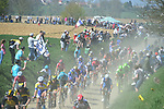 The peloton cross pave sector 26 Viesly to Briastre during the 115th edition of the Paris-Roubaix 2017 race running 257km Compiegne to Roubaix, France. 9th April 2017.<br /> Picture: ASO/P.Ballet | Cyclefile<br /> <br /> <br /> All photos usage must carry mandatory copyright credit (&copy; Cyclefile | ASO/P.Ballet)