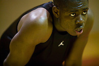 Eric Boateng takes a pause during training in the gym at St Andrews High School in Middletown, DE, United States, 19 April 2005.
