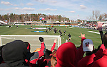 """Marland fans known as """"The Crew"""" cheer on the team during pregame warmups. The University of Maryland Terrapins defeated the University of New Mexico Lobos 1-0 in the Men's College Cup Championship game at SAS Stadium in Cary, NC, Friday, December 11, 2005."""