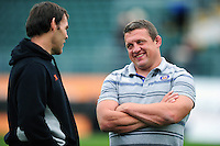 Bath Rugby first team coach Toby Booth has a chat with Newcastle Falcons Forwards coach John Wells. Aviva Premiership match, between Bath Rugby and Newcastle Falcons on September 10, 2016 at the Recreation Ground in Bath, England. Photo by: Patrick Khachfe / Onside Images